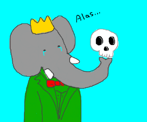 Prince Babar weeps over Yorick's skull