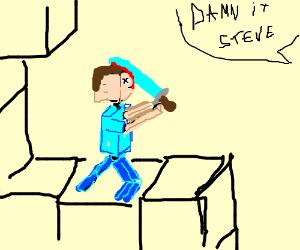 Steve has an accident with his diamond sword