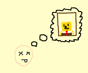 Dead face ponders framed picture of Spongebob