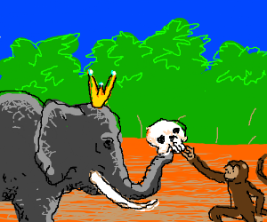 """""""Here, monkey. Have a skull."""" -Elephant Queen"""