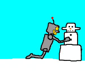 Robot feels up snowbot.
