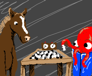 Octopus Plays Chess With Horse