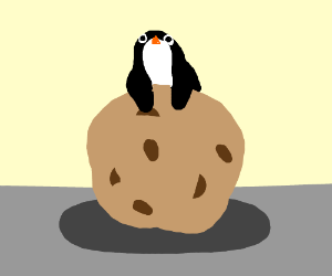 Penguin holding a chocolate chip cookie