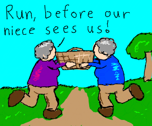 Picnic basket carried away by aunts