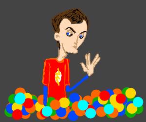Sheldon a la ballpit.