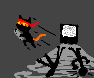 ninjacat steals tv controller from shadowmans