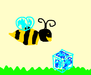 A bee trainspotting an ice cube
