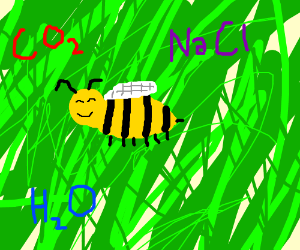 Bee resting in a garden in front of a molecule