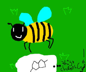 Happy bee is in the grass with chemicals