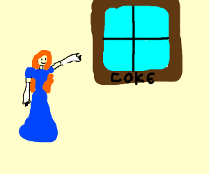 Lady met a window called Coke