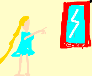Princess Aurora pointing a window w Coke frame