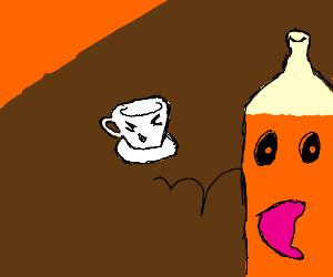 Orange juice escaping the mug
