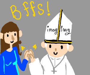girl thinks pope is an imaginary friend