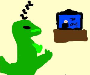 T-Rex falls asleep during the news.