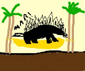 stegosaurus in a hammock
