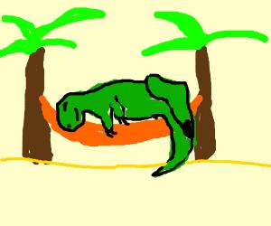 a dinosaur on a hammock