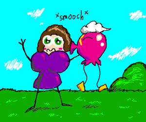 Sambchop gets kissed by pink ballon