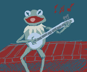 Kermit the frog plays banjo.