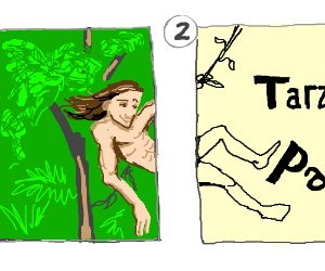 Tarzan swings from one panel to another