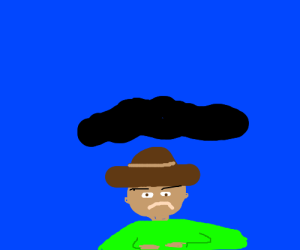 man under a cloud (having a bad day)