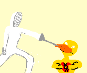 Fencing with a brokenhearted duckling