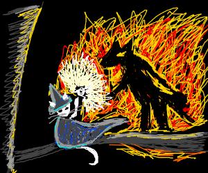 Catdalf keeps the Baldog at bay.