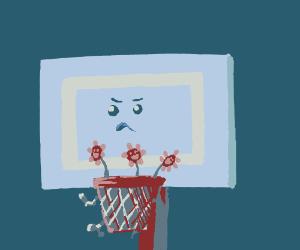 Basketball hoop isn't for flowers.