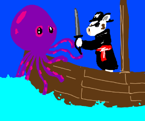 Cow pirate fights octopuss beast on deck