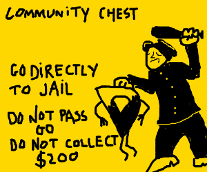 Drawception Monopoly go directly to jail card