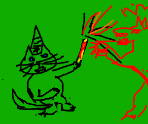 Cat wizard fends off evil flame wolf