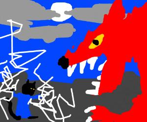 Wizard cat vs red werewolf