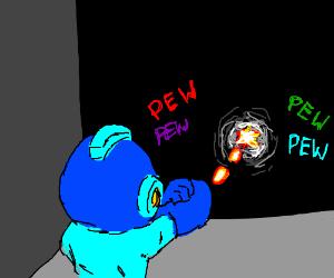 Megaman pewpew-ing a black wall
