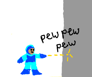 Megaman fires at a wall Pew Pew Pew Pew