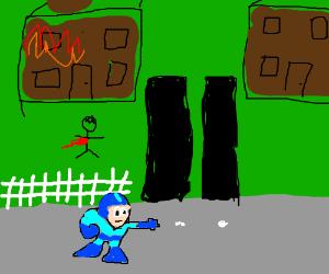 Megaman terrorizes a quiet street