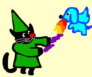 Wizard-cat battling Dragon-dog