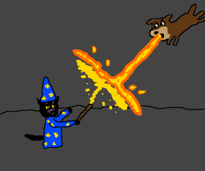 Cat wizard fights fire breathing dog