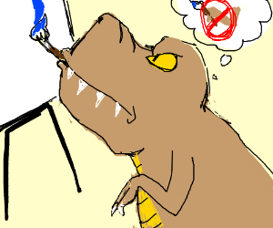 T-rex can't use arms, use mouth!
