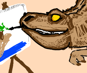 T-Rex paints with his mouth, not scrawny arm.