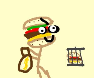 Hamburglar has a hamburger in prison