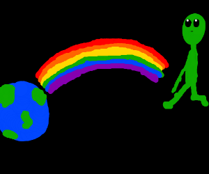 alien finds earth at the end of the rainbow
