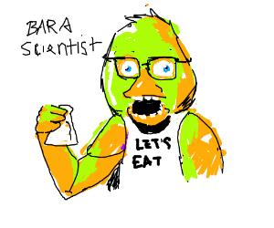 menacing giant chick with bib, bara scientist