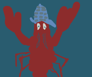 Cute lobster has a blue detective hat