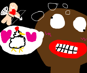 Cupid Shoots a Black Man who loves chicken