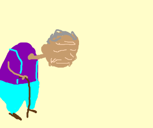Old dude in purple shirt