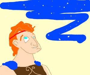 Disney's Hercules looks towards the sky in joy