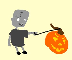 Young Frankenstein and a pumpkin monster