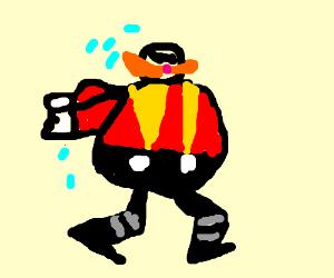 Dr. Eggman tries running fast like Sonic.