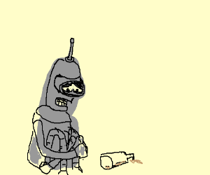 bender is sad,for he is out of booze ;(