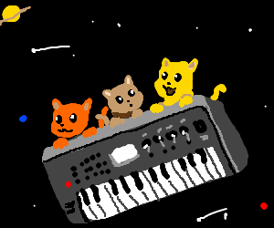 Little cats flying on synth in space
