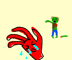 4 fingered red hand cries because of a zombie